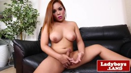 Bigtitted asian tranny solo wanking hard cock