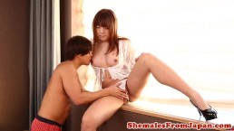 Assfucked ladyboy frotting her cock before bj