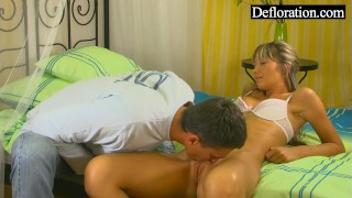Hard the is blonde hungry guy on petite tits