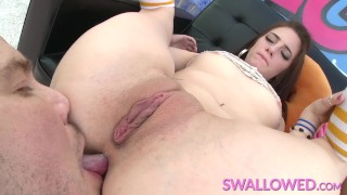 SWALLOWED Lily, Rylee and Arielle sucking on a big hard cock
