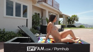 SpyFam Step sister Lily Adams fucked and facialed by spying step brother