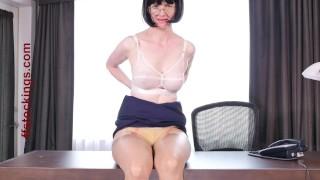 Layers secretary in nylon in ffstockings fetish panty