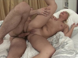 Blonde babe takes a leap of cock