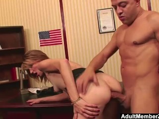 AdultMemberZone – Huge dick makes her scream with pleasure and pain