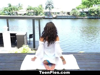 TeenPies - Hot and Sexy Ebony Gets Creampie After Yoga
