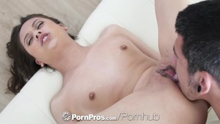 PORNPROS Tiny brunette Lucy Doll fuck and facial on white couch