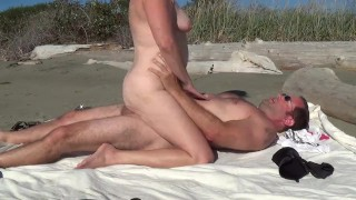 Sex on public beach sexy outdoor MILF fucking