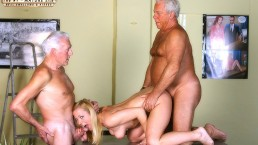 Vintage Old Young Teenie Girl Fucked by 2 wite hair grandpas