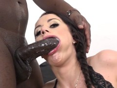 She sloppy blowjob deepthroats my black cock and I cum in her ass