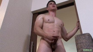 Cock fit beefcake activeduty army jerks his army recruit
