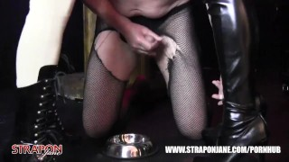 Femdoms in latex dominate tag team sissy face fuck with strapon as he wanks  face fuck big tits strapon bdsm oral femdom masturbate amateur wanking domination kink brunette tag team latex straponjane adult toys