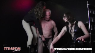 Femdoms in latex dominate tag team sissy face fuck with strapon as he wanks  big tits strapon bdsm oral femdom mas