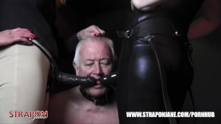 Femdoms in latex dominate tag team sissy face fuck with strapon as he wanks  big tits strapon bdsm oral femdom masturbate amateur domination kink brunette tag team latex straponjane face fuck adult toys wanking
