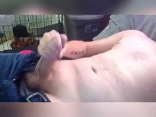 Guy jerks off cums on self big load