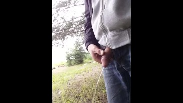 boy flashing cock and piss in street.