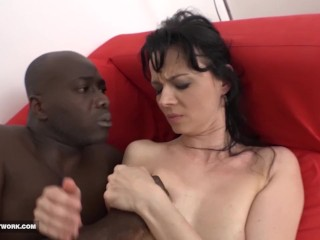 Milf licks her lips and swallows the black man's cumshot after fucking