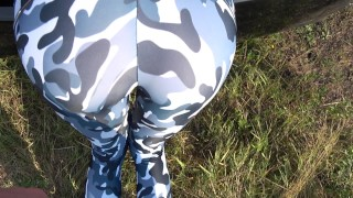 Stuck she step on cum brother yoga sister and while trunk in grinding pants grinding cumshot