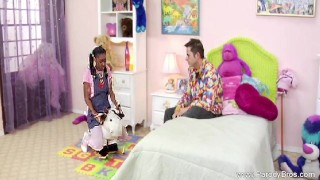 Ebony Teen With Pigtails Fucks White Cock Cumshot doggystyle