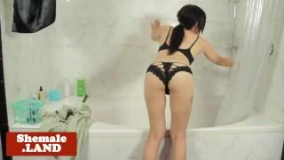 Solo busty trans beauty rubbing cock in bath