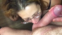 Nerdy MILF in glasses sucks & fucks & gets a facial