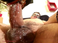 Epic ring gag throat drilling & jizz spurts on slut in red corset & boots
