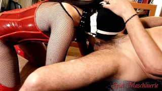 On jizz boots drilling red gag in ring slut throat spurts epic corset fuck skullfucking