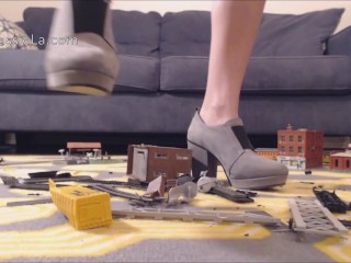 Teen Revenge: Heels Crushing a Nerd Train Set