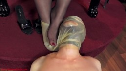 Smothered inside My latex foot hood