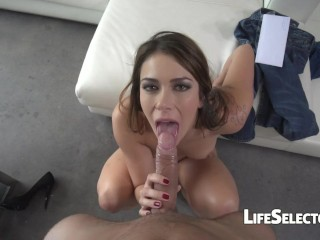 Ani Black Fox - Brunette gets her mouth loaded