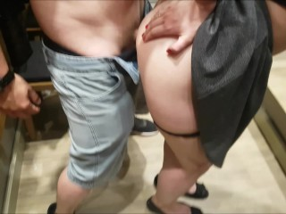 Quick blowjob with cum in mouth in changing room 9