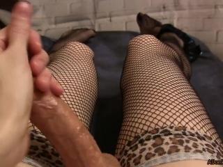 POV - Sissy masturbates in beautiful stockings