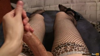 POV Sissy masturbates in beautiful stockings