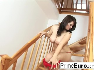 Preview 3 of Busty brunette Kristi Klenot gets fucked on the couch