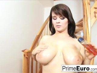 Preview 5 of Busty brunette Kristi Klenot gets fucked on the couch