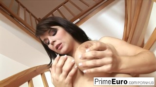 Preview 4 of Busty brunette Kristi Klenot gets fucked on the couch
