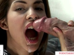 Exotic petite Heather Vahn stretched by a Thick Cock &take a nasty facial!