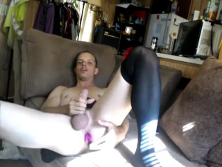 Sexy Husband rides vibrator and close up cumshot