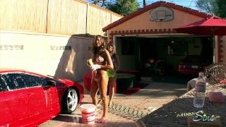2 hot girls w/ Big Tits Bikini Car wash and Fucked by Big Dick Outside! Big shaved