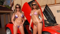 2 hot girls w/ Big Tits Bikini Car wash and Fucked by Big Dick Outside!