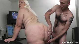Busty blonde secretary sex at work