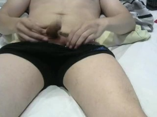 Young dick and anal wank b4 work