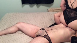 Facesitting and unlocking chastity cage for a teasing handjob