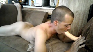 Sexy learns sucking dick dp from both ends Solo playing