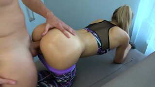 Step brother grinding and cums on yoga pants step sister while working out Step bigcock