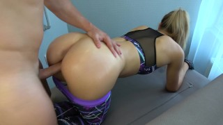 Step brother grinding and cums on yoga pants step sister while working out Butt small