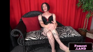 Stockinged amateur trans tugging her cock Pawg myveryfirsttime
