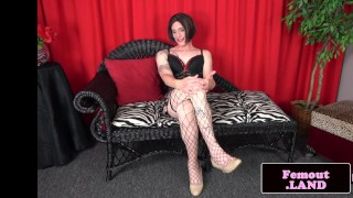 Amateur tugging her stockinged cock trans femboy ass