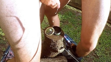 Two Straight Redneck Cowboys Blow Cum Loads On Tobacco Tin & Boots Outside