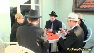 bukkake orgy at our last poker game porno