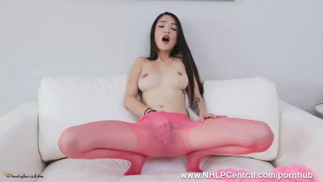 Sheer nylon pantyhose Petite babe jericha jem clad in pink sheer nylon pantyhose fingers pussy